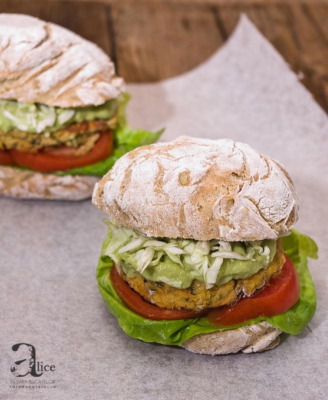 burger vegetarian de linte si ciuperci