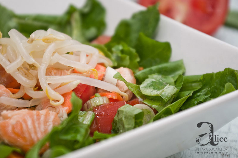 Salata de somon cu muguri de fasole mung
