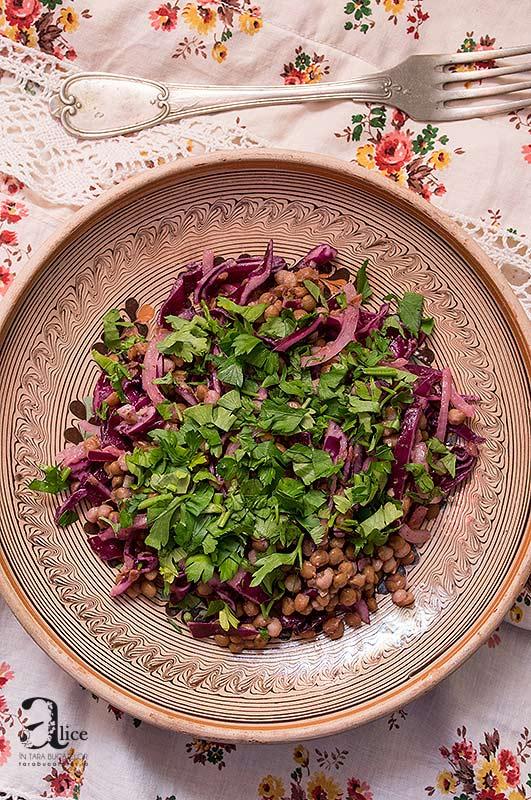 Salata de linte si varza rosie