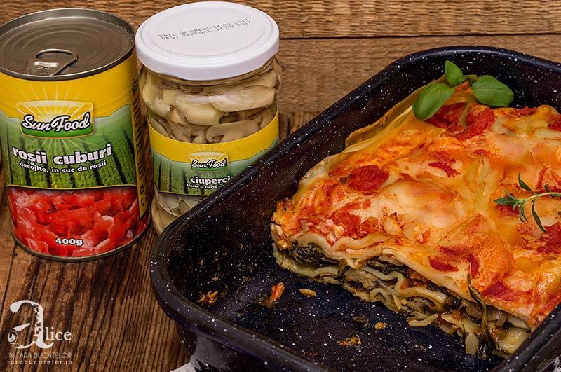 Lasagna cu ciuperci si spanac