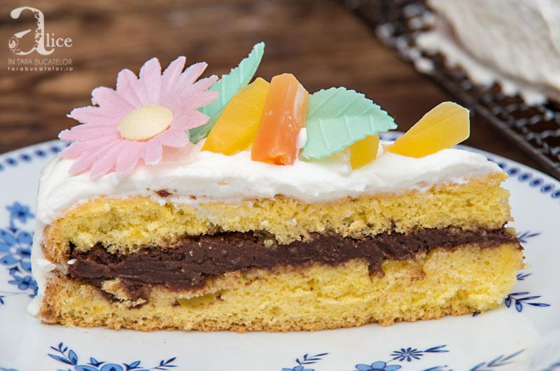 Tort cu fructe tropicale si crema de ciocolata