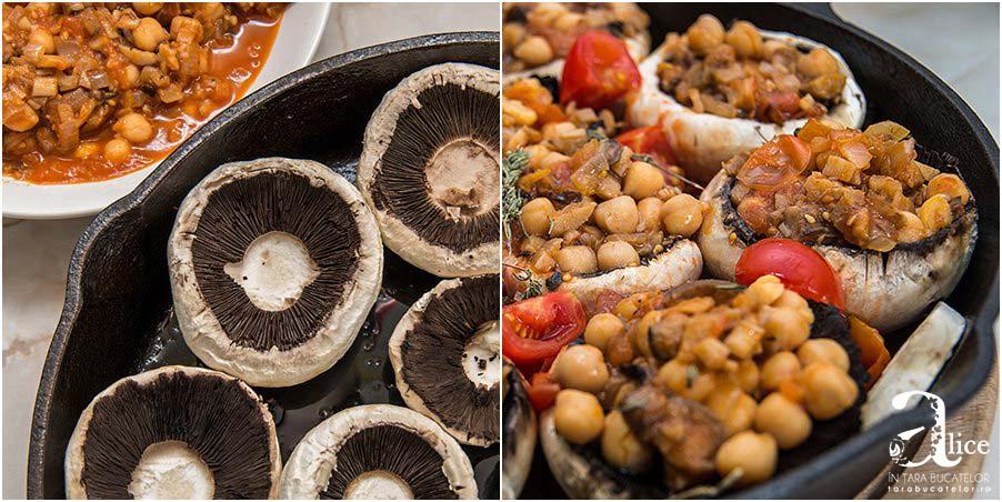 Ciuperci umplute cu naut