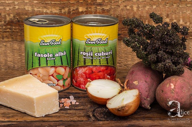Supa crema de fasole cu cipsuri de cartofi dulci