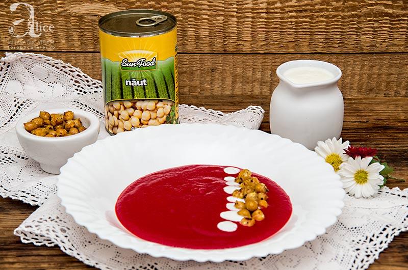 Supa crema de sfecla rosie cu naut