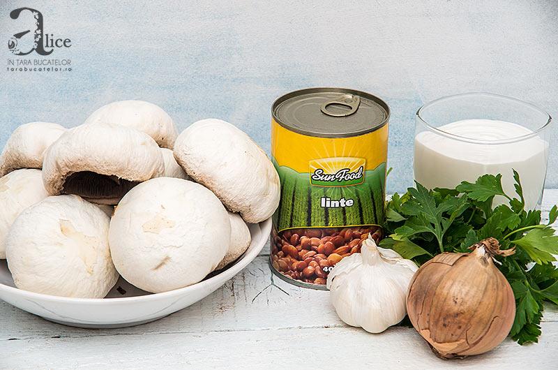 Ciuperci umplute cu linte