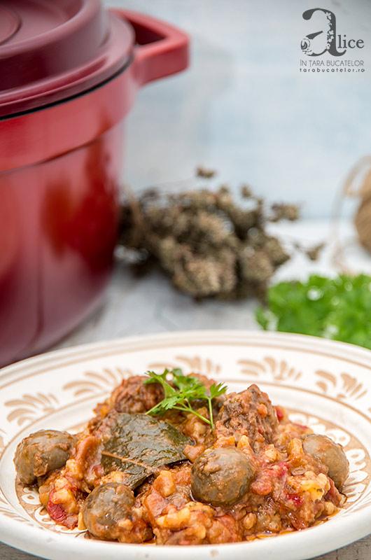 Vita cu ciuperci la cuptor