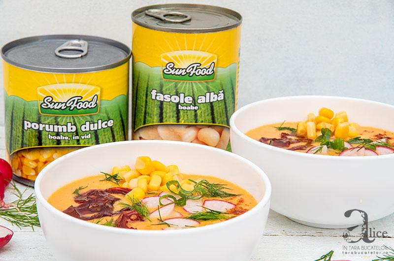 Supa rece de fasole cu porumb dulce
