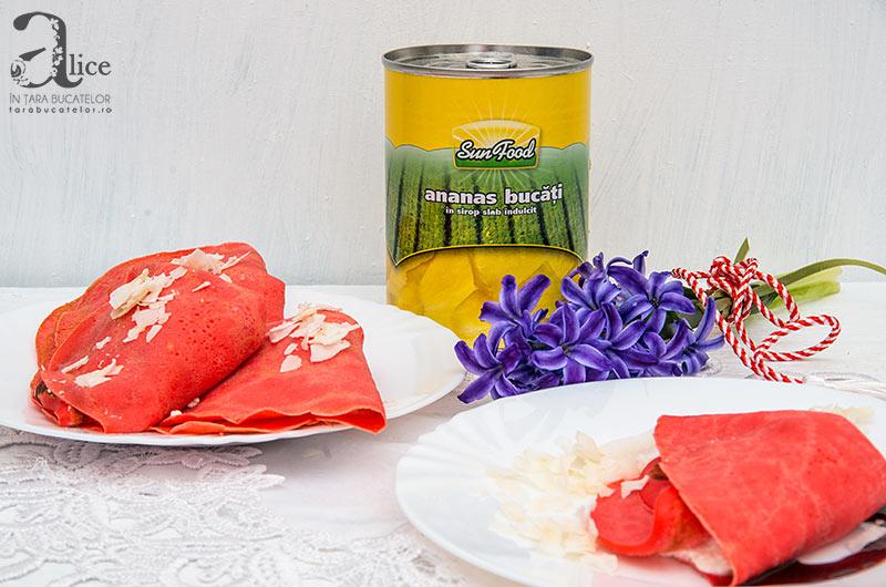 Clatite cu branza si ananas
