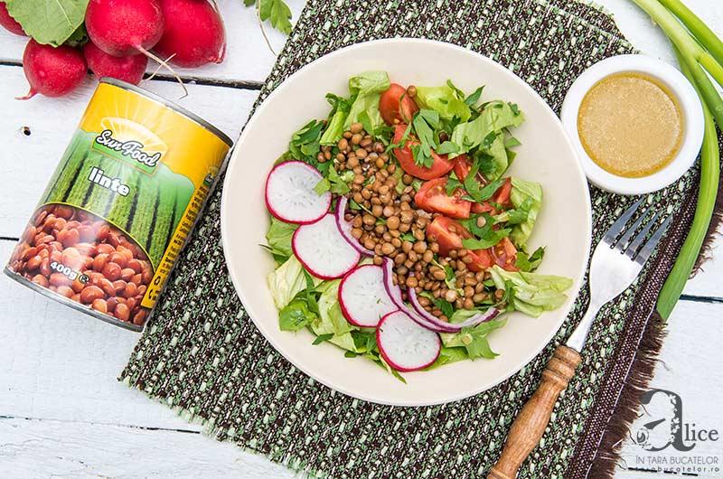 Salata cu linte si dressing de mustar
