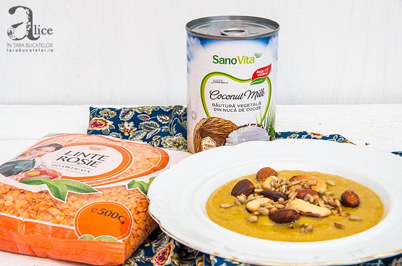 Supa crema de linte cu lapte de cocos