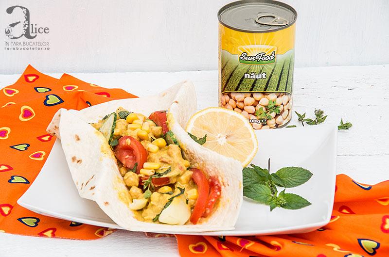 Tortilla cu legume si curry