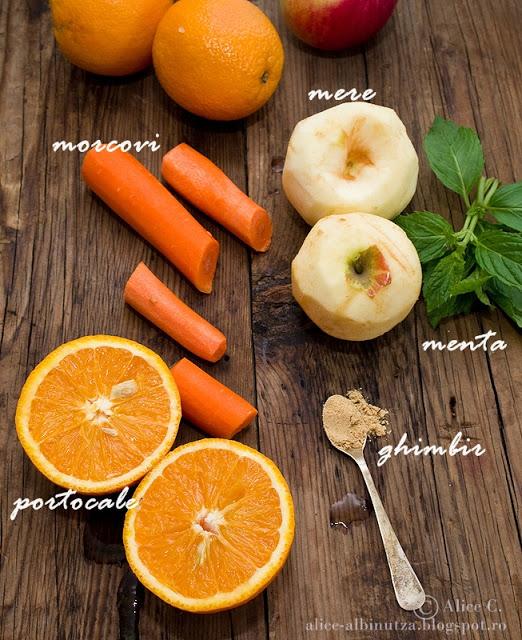 Suc de morcovi, portocale si mere